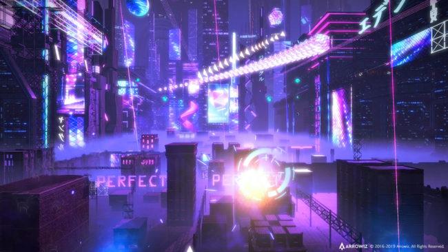 「BEATS FEVER VRリズムステージ」のプレイ画面(TOKYO)