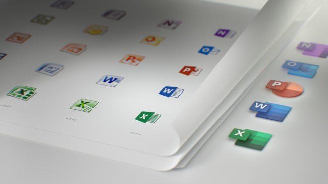 「Office」の新しいアイコンと旧アイコンの比較
