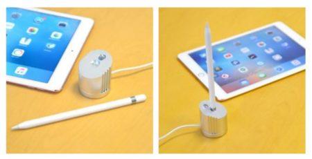 『ペン立てにもなる Apple Pencil 用充電スタンド』の使用時の様子