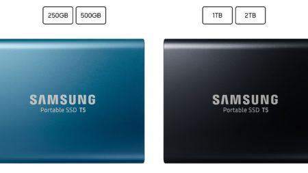 「Samsung Portable SSD T5」の容量とカラー