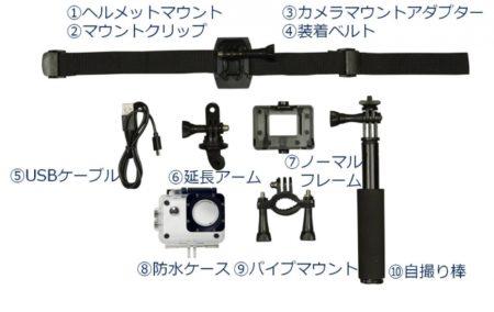 「アクティブギア フルHDカメラ」の付属品