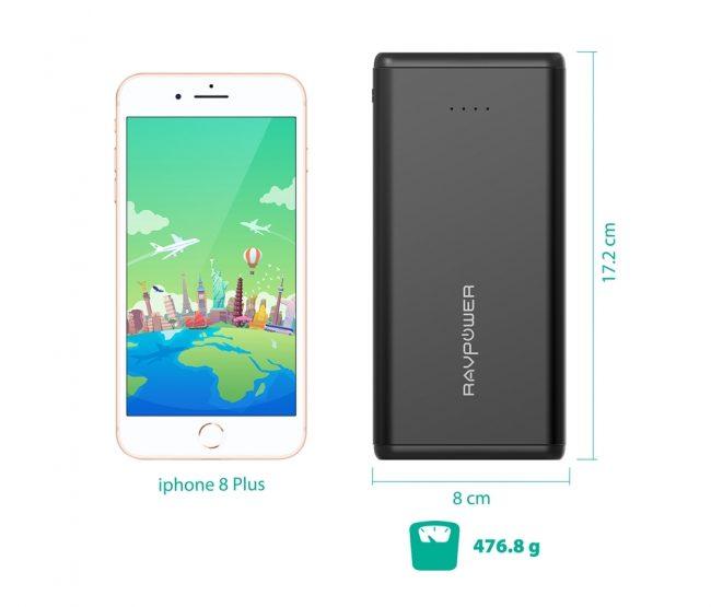 RAVPower モバイルバッテリーのサイズをiPhone8と比較した画像