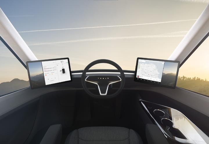 「Tesla semi」の運転席
