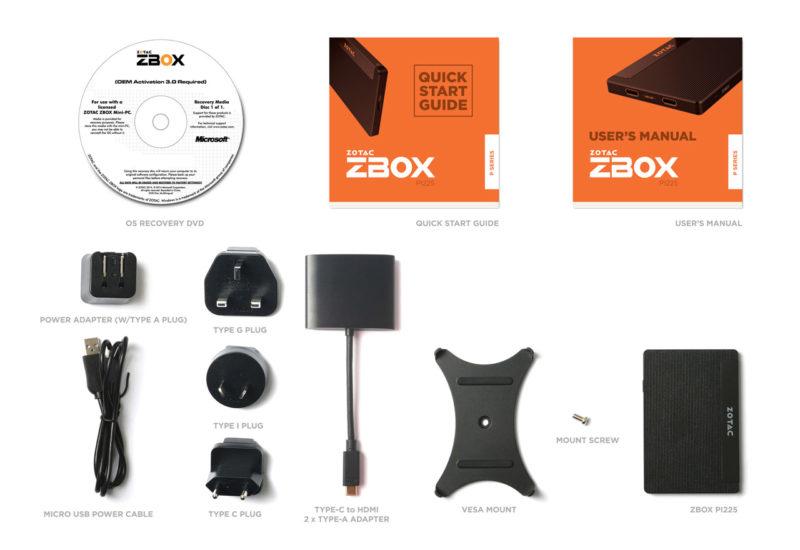 「ZBOX PI225 Windows 10 Home」の付属品
