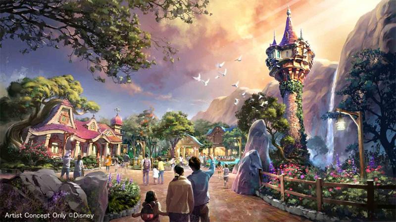 『塔の上のラプンツェル』をテーマとしたエリアの完成イメージ
