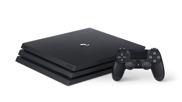 「PlayStation®4 Pro ジェット・ブラック 2TB」を横置きしたときの外観