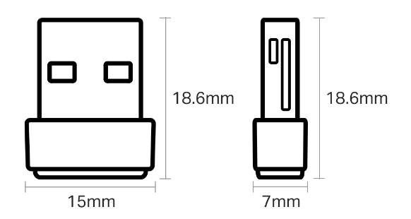 「Archer T2U Nano」のサイズ