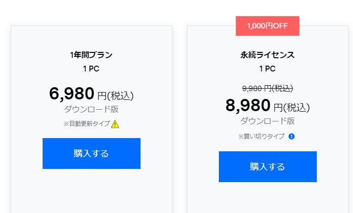 「Filmora(フィモーラ)」の価格(2021年8月28日時点)