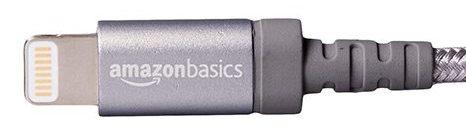 「Amazonベーシック 高耐久ナイロン ライトニングUSB充電ケーブル」のヘッド部分