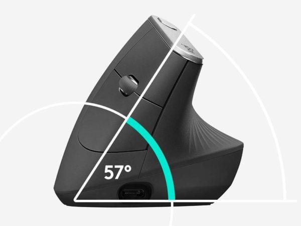「ロジクール MX Vertical アドバンスエルゴノミックマウス」の傾斜
