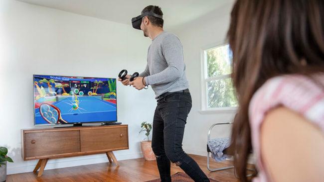 「Oculus Quest」でゲームをプレイしている様子