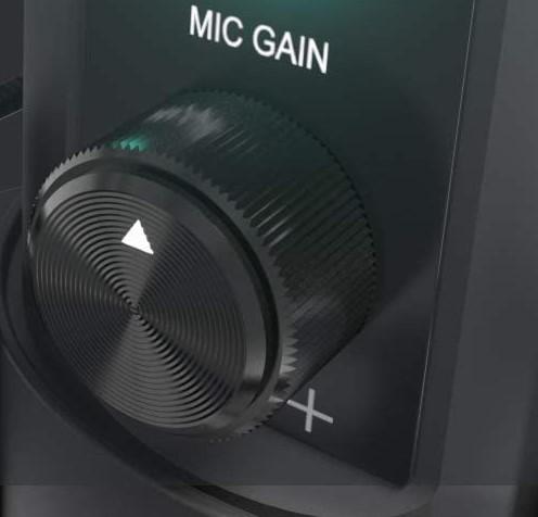「MAONO USBコンデンサーマイク AU-PM421」のマイクゲイン調整ノブ