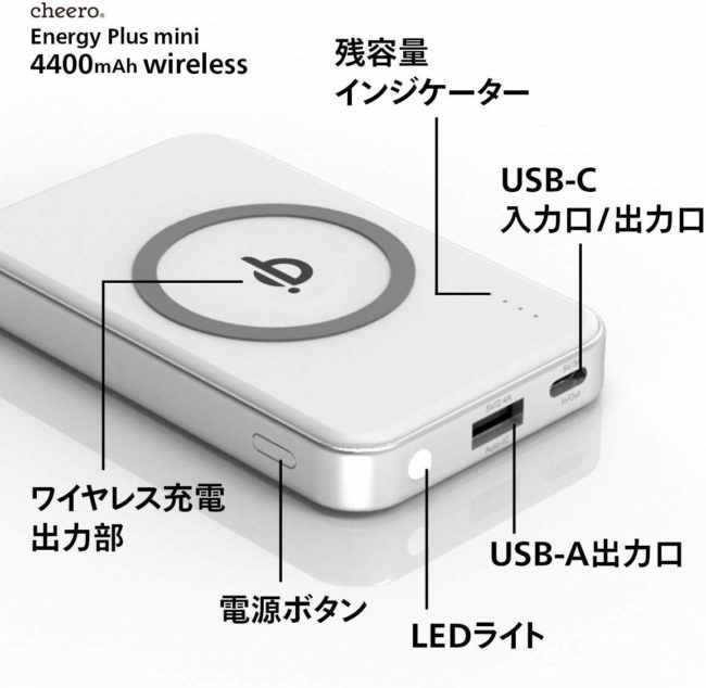 「cheero Energy Plus mini Wireless 4400mAh」各部の名称