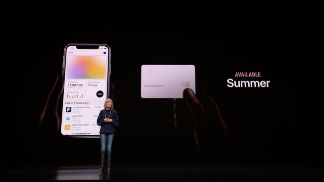 「Apple Card」のサービス開始時期の発表シーン