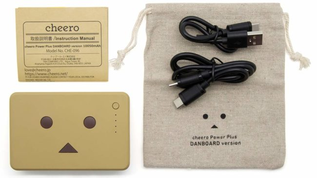 「cheero Power Plus Danboard version PD18W」の付属品