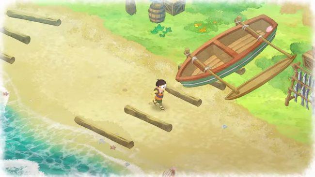 『ドラえもん のび太の牧場物語』で海を歩いている様子