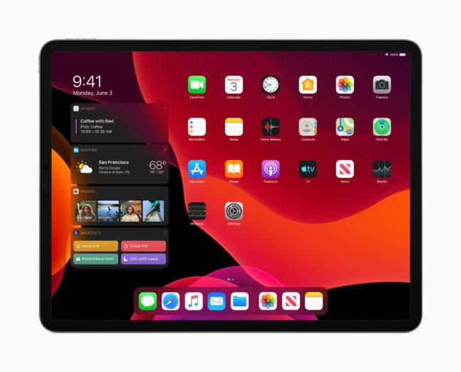 「iPadOS」のホームスクリーン