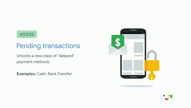 Google Play「Pending Transactions」の概要を説明した発表スライド