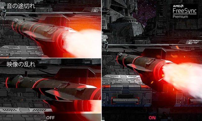 AMD FreeSync™ Premiumテクノロジーの比較画像