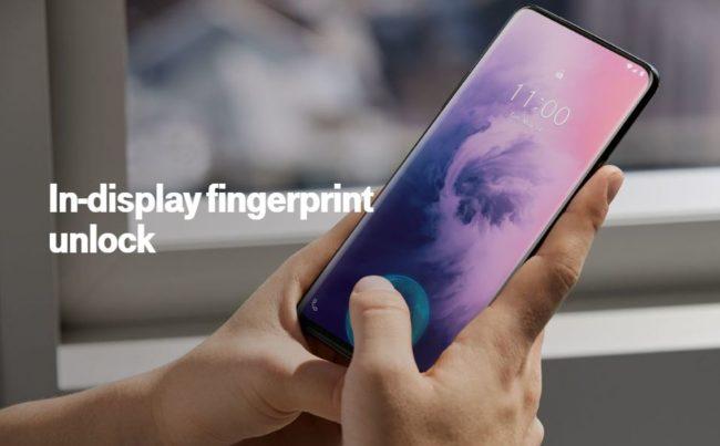 「OnePlus 7 Pro」の画面内指紋認証