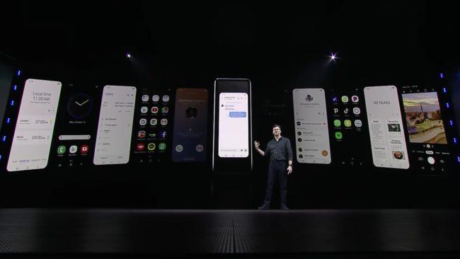 「Galaxy Fold」の外側ディスプレイの使用例