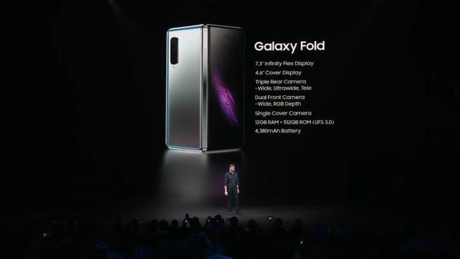 「Galaxy Fold」の主なスペック表