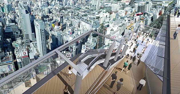 渋谷スカイのエスカレーター