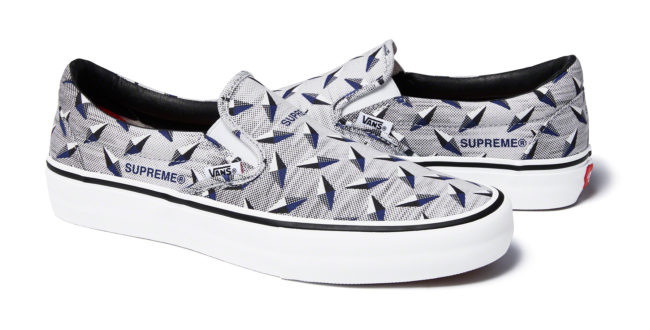 Supreme x VANS DIAMOND PLATE  SLIP-ON PRO White