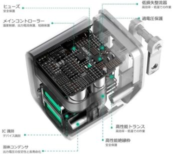 「AUKEY 超小型USB充電器 PA-U32」の内部構造図