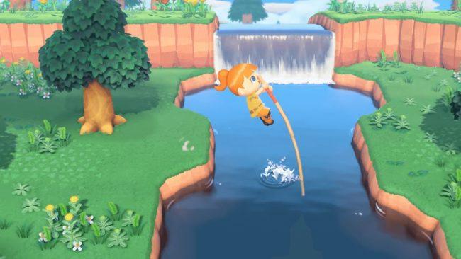 Nintendo Switch「あつまれ どうぶつの森」で川を棒で渡っているシーン