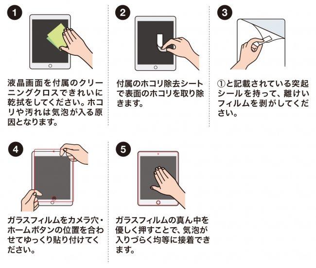 「LCD-IPAD97G」をキレイに貼るための手順