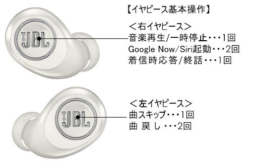 「JBL FREE X」の操作ボタン