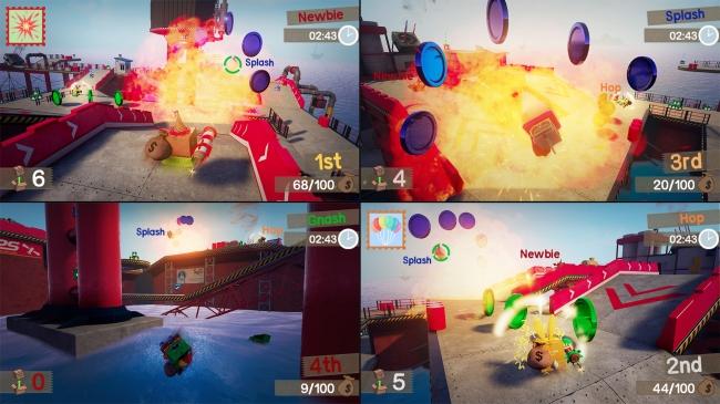 「Unbox: Newbie's Adventure」を4人で遊んでる際のゲーム画面