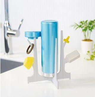 「ボトル水切りスタンド」の使用イメージ