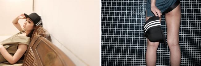 「adidas 3LINE FLAP CAP」の着用イメージ②