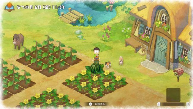 『ドラえもん のび太の牧場物語』で畑仕事をしている場面