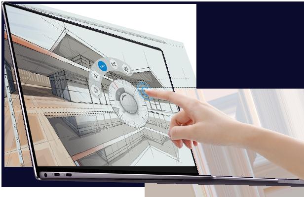「HUAWEI MateBook X Pro」のタッチパネルディスプレイ