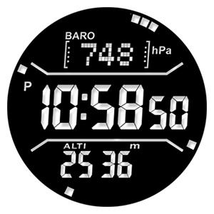 「WSD-F30」のモノクロ画面は時刻と計測情報を同時表示