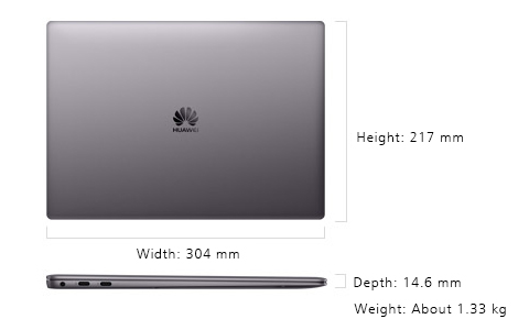 「MateBook X Pro」のサイズ