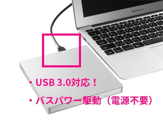 「IO-DATA 外付けDVDドライブ DVRP-UT8FCW」のUSB 3.0対応ポート