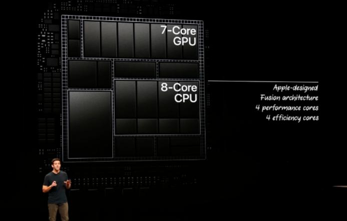 新型iPad Proに搭載されている「A12X Bionic」を発表している様子