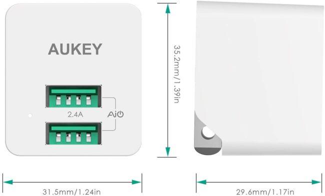 「AUKEY USB充電器 PA-U32」のサイズ