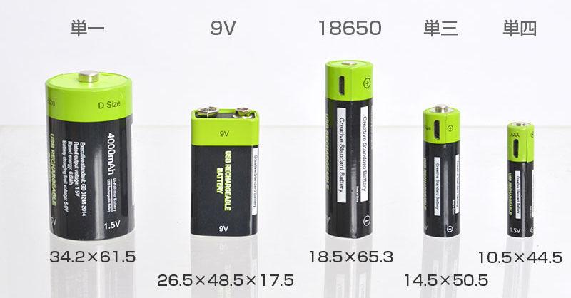 「USB充電できる乾電池」のラインナップ